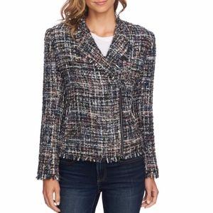 NEW CeCe Multicolored Tweed Moto Jacket